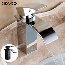 OKAROS Bathroom Basin Faucet Waterfall Faucet Chrome Black Finish Brass Hot Water Single Handle Vessel Basin Tap Mixer Torneira(China)