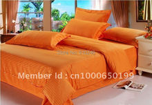 cotton satin band stripe orange hotel bedding set duvet cover set bed linen set