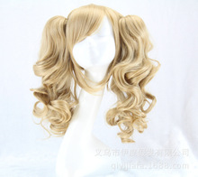 New Batman Harley Quinn Cosplay Wigs Golden Blonde Curly Medium Synthetic Hair Ponytails Women Anime Party Wig Free Shipping