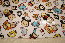 50*180cm Minnie Mickey Mouse tsum tsum Simulation knitted Terry Cotton fabric For Sewing diy Patchwork ,BABY Child clothes(China)
