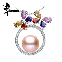 MINTHA 925 sterling silver flower necklace,Fine jewelry chain necklace,Pearl pendant Yellow gem ,Purple gem Bohemia necklace(China)