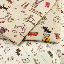 50*150CM cat bird owl animal house patchwork printed Linen fabric for Tissue Kid Bedding home textile for Sewing Tilda Doll,c825