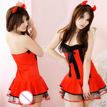 High Quality Sexy Women Lingerie Chrismas Dress Hot Babydoll Porno Devil Chrismas Cat Lady Teddies Cosplay Sexy Costumes(China)