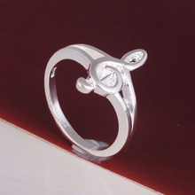silver plated music ring jewelry factory large stock drop shipping online shop women costume accessories finger rings wholesale(China)