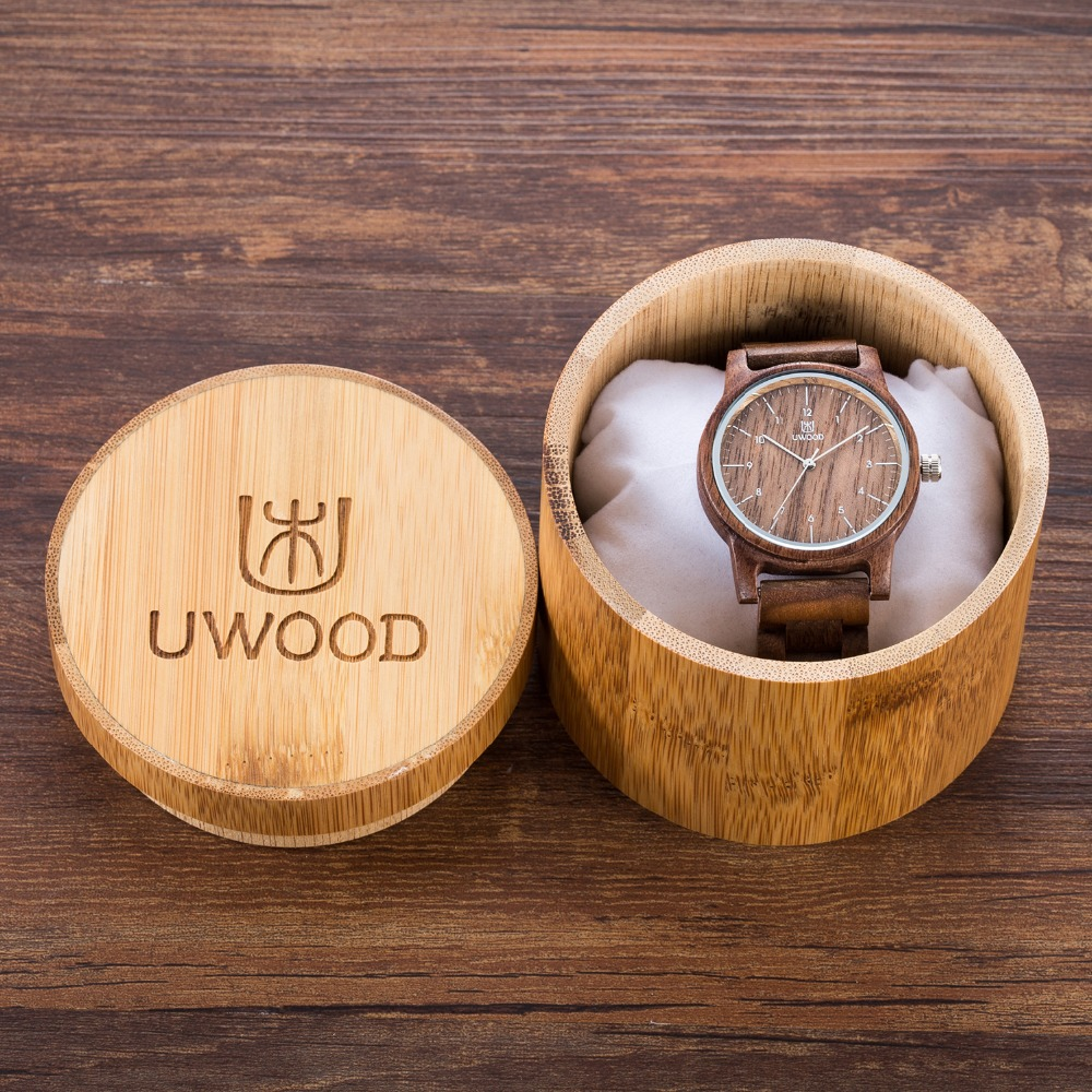 Fashion luxury brand casual black walnut wood watch natural sandal wooden quartz watches for men women best gifts with gift box<br>