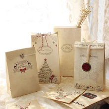 6pcs/lot Merry Christmas Kraft Paper Bag Bake Biscuits Cookies Candy Gift Bags Party Lolly Favour Wedding Packaging 22x12x6cm