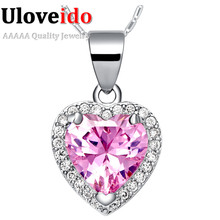 Free Shipping Collares Crystal Pendant 2016 New Necklaces Pink Heart Pendants for Women Zircon Silver Jewelry Bijouterie N1110