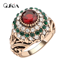 Gukin Wedding Rings For Women Plating Ancient Gold Vintage Jewelry Ottoman Style Jewelry game of thrones Crystal Ring(China)