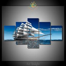 5 Pieces/set Limited edition sailing Canvas Wall Painting for Home Decoration Unique Wall Art Picture for Living room(China)