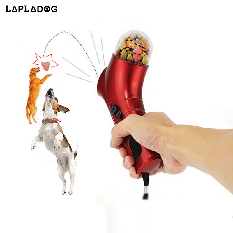 LAPLADOG Fashion Pet Dog Treats Launcher Training Small Dog Food Catapult Auto Pets Food Thrower Puppy Snack Feeder ZL10(China)