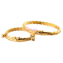 6mm Women Mother Babies Kids Gold Filled Color Wire Bangles Bracelets Openable Wristband Rope Jewelry