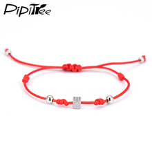 Charm Red String Handcrafted Macrame Bracelets Bangles Tiny Cube Micro Pave Shiny Zircon Bead Bracelet Woman Man Jewelry Hot(China)