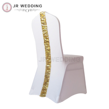Spandex Chair Cover - White Lycra Chair Cover With Gold/Silver Metalic Pleat At Back 100PCS Free Shipping For Wedding Event Use(China)