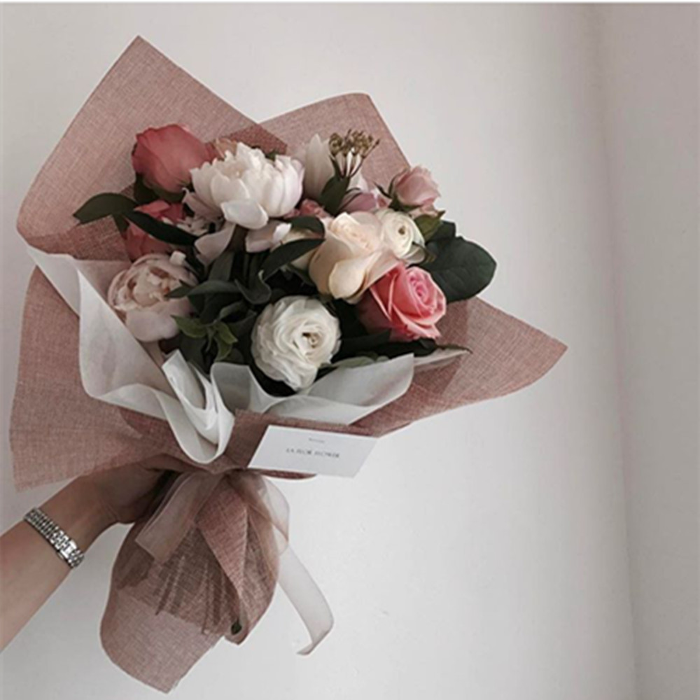 2018 Korean Style Linen Flower Wrapping Paper Flowers Bouquet Gift ...
