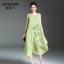 LECHIDING Plus Size Women Clothing 2017 Women Summer Dress New Sleeveless Long Linen Dresses Bamboo Print Vestidos Robe Femme