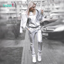 TAOVK design Russia style Women's plus size Spring and Autumn Silver Shiny Sweatshirt and Long Pant  Aerospace tracksuits