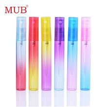 MUB - (60 pieces/lot) 6 Colors Mini Pump Sprayer Perfumes Bottle 8ml Glass Frascos De Perfume With Rainbow Printing(China)