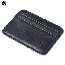 Wholesale Real Leather Credit Card Holder Thin Card Case Mini Card Wallet Men Business ID Money Cards Pack Black Sheepskin Cheap(China)