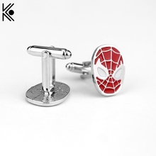 New Fashion Movie Jewelry Superhero Style Spider-Man Mask Red Enamel Cuff Links For Mens Shirt Brand Cuff Buttons Cufflinks gift