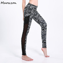 Buy Maoxzon Womens Striped Print Fitness Slim Leggings Pants Female Mesh Patchwork Pocket Casual Active Workout Ioga Skinny Trousers for $16.58 in AliExpress store