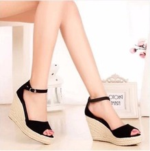 Koovan Women Sandals 2017 New Summer Fashion Straw Wedge Sandal Platform Shoes Fish Head Shoes Woman Shoes Larger Size 32-43(China)