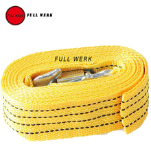 1pc 4 M 3 Tons Car Trailer Towing Strap Rope Heavy Duty Auto Emergency Helper U-Shape Hooks High Strength