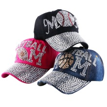 wholesale brand Popular young female girl denim baseball caps new fashion women heart shaped  rhinestone jeans snapback hats