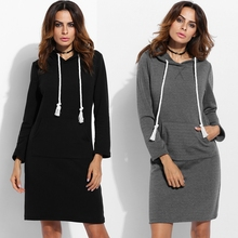 2017 Women'S Casual Pocket Long Package Women Sports Dresses Hooded Hip Thick Long Sleeve Dress
