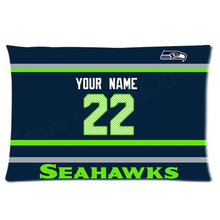 Custom Seattle Seahawks Football Pillowcase NFL Pillow Case Cover Your Name Number Personalized Football Gifts 20x30 Two Sides