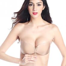 2017 Women Sexy Self Adhesive Strapless Backless Seamless Bandage Stick Gel Silicone Push Up Invisible Bra Black/ Skin Color(China)