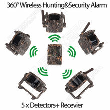 Bestguarder SY-007 360 degree Wireless Hunting Trail&Security Alarm Motion Dectect 1x Receiver+5 Detector