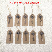 50pcs/lot Wedding Souvenirs Wedding Tags Antique Copper Skeleton Key Beer Bottle Opener with Escort Tags Place Cards Well Packed