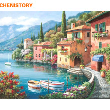 CHENISTORY Lakeside Villa Building Landscape DIY Painting By Numbers Kits Coloring Painting By Numbers With Wood Frame Artwork