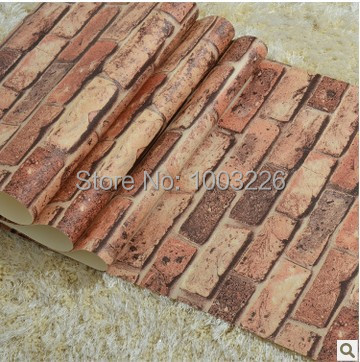 Brick Stone Wallpaper roll Red Adhesive 3D Wood Wall Paper Roll Wine Bar Retro Europe Style for Bedroom papel de parede vermelho<br><br>Aliexpress