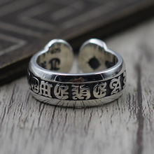 S925 Sterling Silver Jewelry Personalized Letters Openings Ring Thai Silver Men And Women Sanskrit Ring(China)