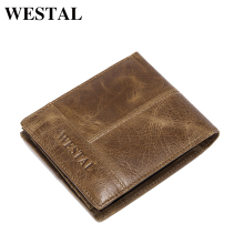 WESTAL Fashion Genuine Leather Short Men Man Wallet Small Purse Male Clutch Leather Men Wallets New Card Holder 8064(China)