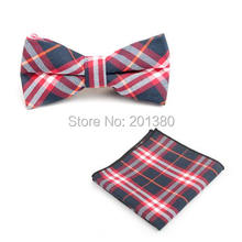 2015 men neck tie set bow ties butterfly pocket square stripe plaid Handkerchief cotton party gift business