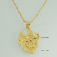 "Min order 10$/ Can mix /- YELLOW - GOLD GP OVERLAY COATED 18"" LINK NECKLACE & ALIEN ELEMENT Mysterious PENDANT(China)"