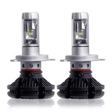 2X High/Dipped Beam H4 Led Car Bulbs 6500K SUV 12000LM Headlight Kits X3 Automobile Head Light 50W/Pair Fan-less ZES Chips lamp(China)