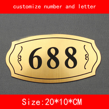 size 20*10cm Number of House Room Gate gold brushed not fade Customized number letter Door Plate Apartment Hotel(China)