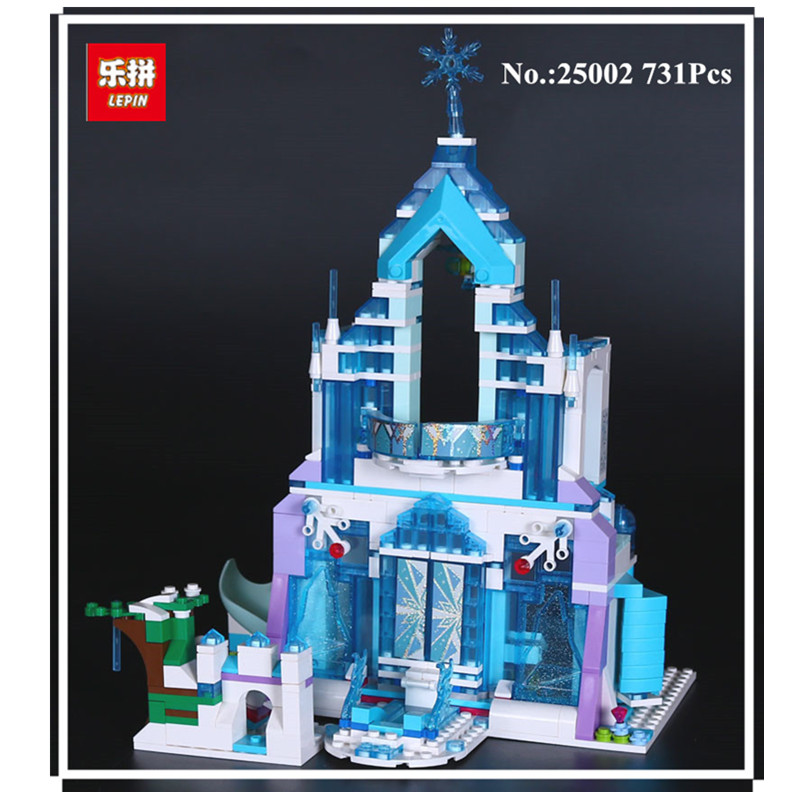 IN STOCK Lepin 25002 731pcs The Snow World Series The Elsa`s Magical Ice Castle Set Building Blocks Bricks Toys Girl with gifts <br>