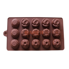 Creative DIY Silicone cake decorating tool ice cube 15 lattices four kinds of flower chocolate mold SICM-115-22