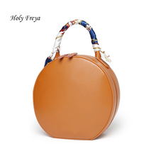 Pink Vintage Luxury Round Bag Genuine Leather Women Round Handbag Circular women work bag bolsa feminine circle tote bag