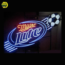 Neon Sign Miller Lite Soccer Football Glass Tubes Neon Bulb Signboard lighted signs Print board neon light for sale personalised(China)