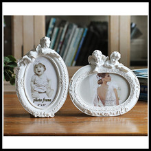 "Photo Frame Angel White Oval Shape With One Picture 6x4"" For New Baby And Sweet Lover Gift Resin Picture Frame Bedroom Decor(China)"