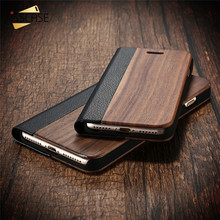 KISSCASE Retro Natural Real Bamboo Wood Case For iPhone 6 6s Plus 7 7 Plus Case Wood Flip Phone Cover Protective Shell Coque