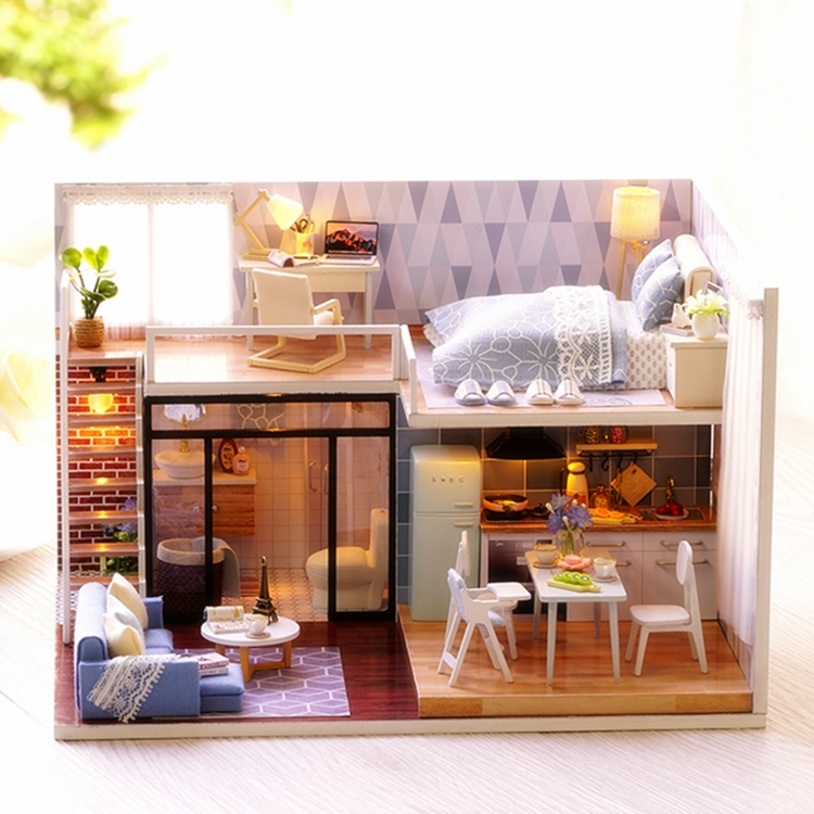 New Arriving DIY Miniature Model Dollhouse Blue Time With Furnitures LED 3D Wooden House Toys Handmade Best Gifts For Children (1)