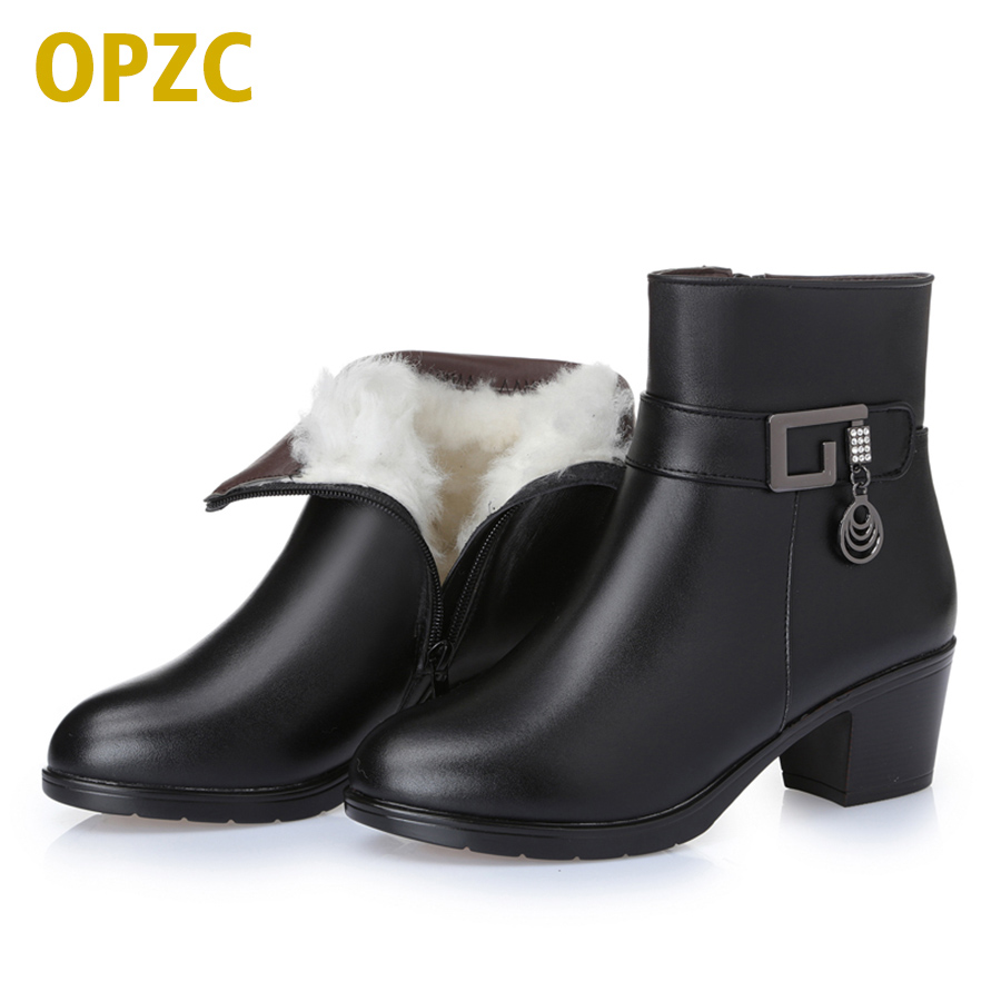 2017  new winter thick wool lined genuine Leather  women snow boots, large size 35-43 # mother warm boots, free shipping<br>
