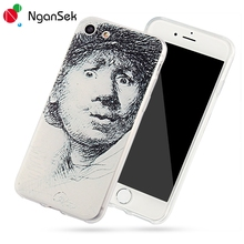 Rembrandt Van Rhijn 3D Painting For iPhone Case 6 6S 7 Plus 5 5s Se Phone Case Cover Sketch Self-portrait [NganSek The Art]