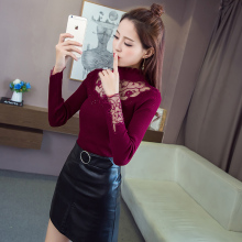 Autumn Winter Women Knitting Embroidered Mesh Sweaters Pullovers Girls Knitted Full Sleeve Tops With Decorated Rinestones